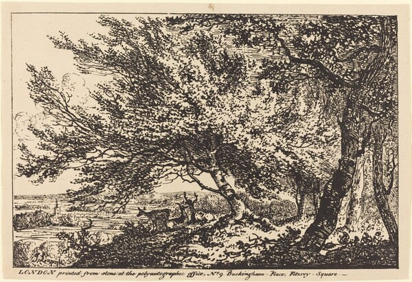 Landscape with Deer under Trees