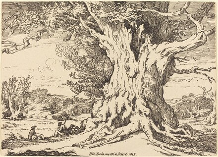 Resting, Men and Dogs under a Big Tree