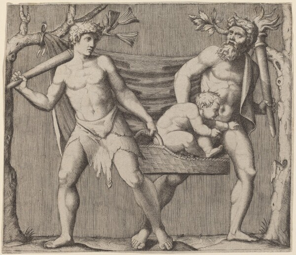 Two Fauns Carrying a Child