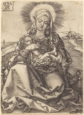 Madonna in a Landscape Sitting on a Cushion