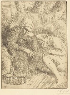 Man and Wife Seated by the Road with a Basket(Homme et femme assis au bord de la rou te aven un panier)