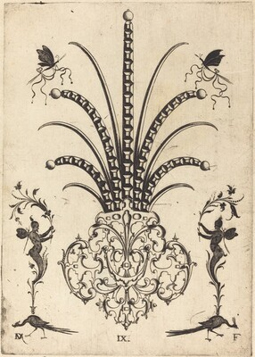 Brooch with Table-Stones, Butterflies at  Top, and Peacocks and Hermes at Bottom