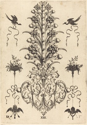 Hyacinth-Shaped Brooch with Birds at Top and Devil's- and Angel's-Head at Bottom