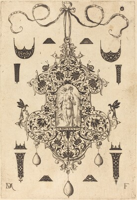 Large Pendant, Temperance Standing at Centre