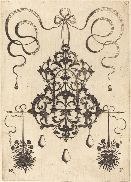 Large Pendant, Lower Left and Right Two Bunches of Grass, Flowers, and Fruit