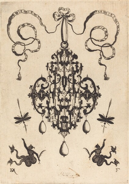 Large Pendant, Lower Left and Right Two Creatures of the Sea