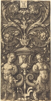 Ornament with Vase and Two Female Figures