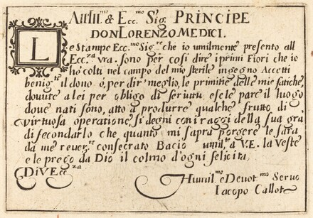 Dedication to Don Lorenzo de' Medici