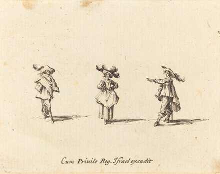 Lady with Large Plumes, and Two Gentlemen