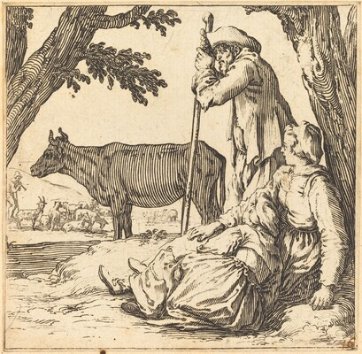 Peasant Couple with Cow