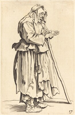 Beggar Woman Receiving Charity