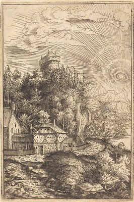 Landscape with a Castle and Radiating Sun