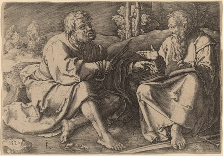 Saints Peter and Paul Seated in a Landscape