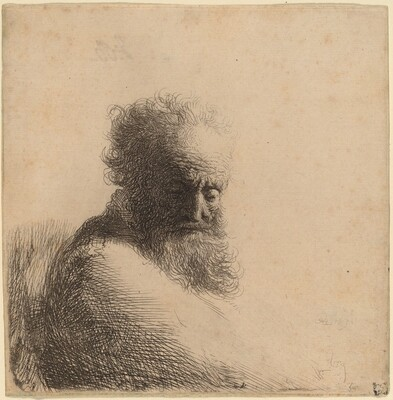 Bust of an Old Bearded Man, Looking Down, Three Quarters Right