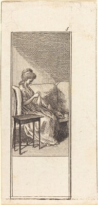 Girl Seated, Sewing