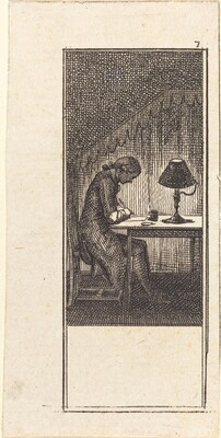 Young Man Writing by Lamplight