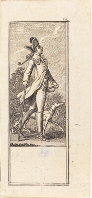 Young Man with Sword, Cane and Dog