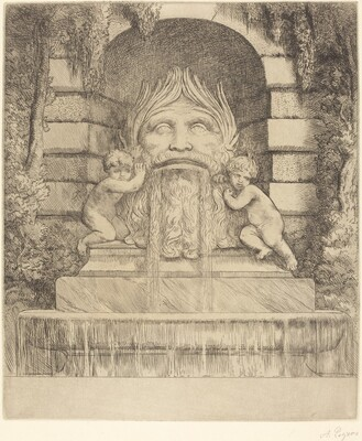 Fountain: Grotesque, Children and Basin (Une fountaine: Masque, enfants et bassin)