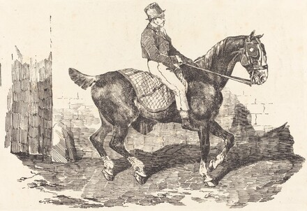 Groom Mounted on a Carriage-Horse (Cheval de carrosse monte par un palfrenier)