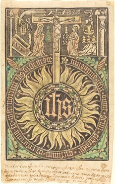 The Sacred Monograph with the Crucifixion  and Passion Symbols [recto]