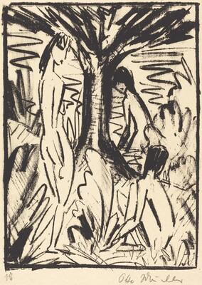 Standing, Sitting, and Bathing Girls near a Tree (Stehende, sitzendes und badendes Madchen am Baum)