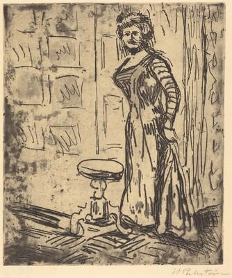 Woman Standing by a Door