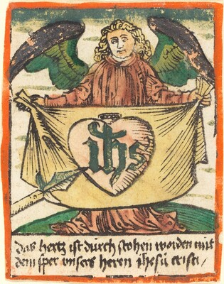 Sacred Monogram in a Sacred Heart on a Cloth Held by an Angel