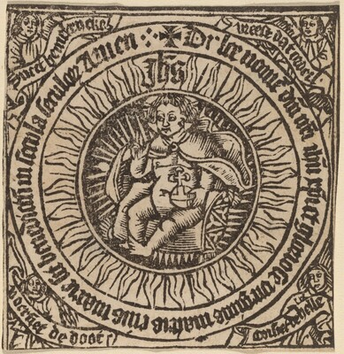 Divine Infant with the Globe in a Circle  with Four Angels