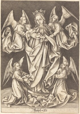 The Madonna and Child on the Crescent Supported by Four Angels