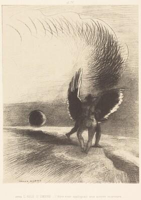 Sous l'aile d'ombre, l'etre noir appliquait une active morsure (Beneath the wing of shadow the black creature was biting energetically)