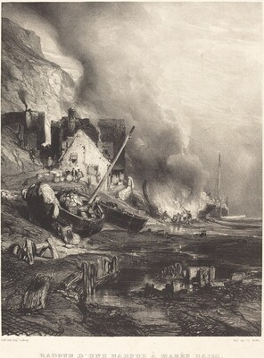 Radoub d'une barque à Marée Basse