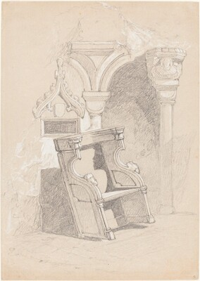 Sketch of Ruined Church Interior with Chair