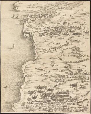 The Siege of La Rochelle [plate 5 of 16;  set comprises 1952.8.97-112]