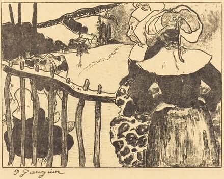 Breton Women beside a Fence (Bretonnes à la barrière)
