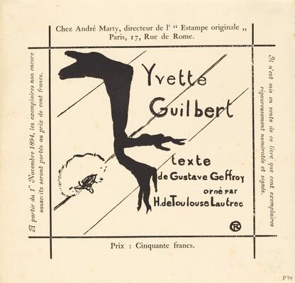 Advertisement for the Album Yvette Guilbert