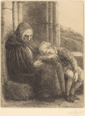 Woman Seated against a Wall, Child with His Head in Her Lap (Femme assise, muraille au fond, enfant la tete dans son giron