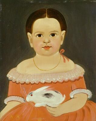 Little Girl with Pet Rabbit