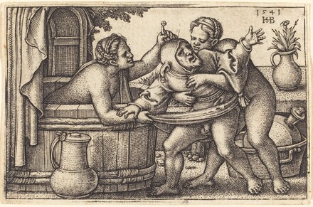 Clown and Two Women Bathing