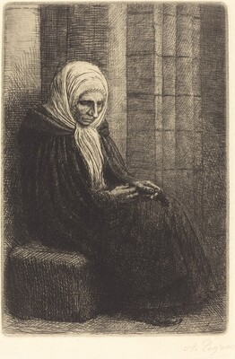 Woman Seated against a Wall, Child with His Head in Her Lap (Femme assis, muraille au fond, enfant la tete dans son giron)