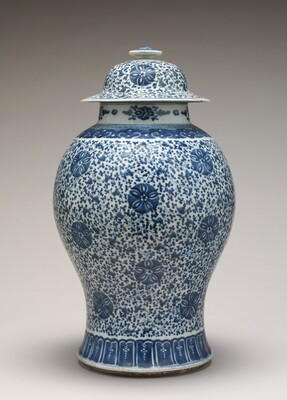 Blue and White Jar with Cover