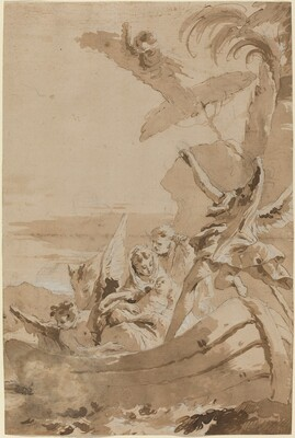 The Flight into Egypt with the Holy Family and Two Angels in a Skiff