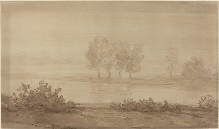 Landscape - Four Trees beyond a River