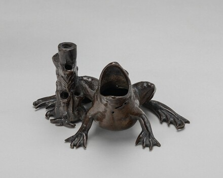 Inkwell in the Form of a Frog beside a Tree Stump
