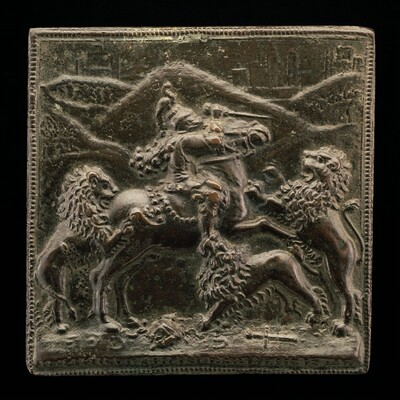 A Horseman Attacked by Three Lions