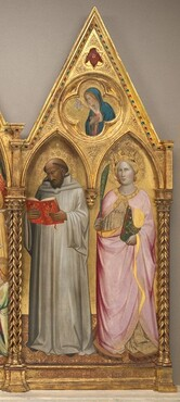 Saint Bernard and Saint Catherine of Alexandria with the Virgin of the Annunciation [right panel]