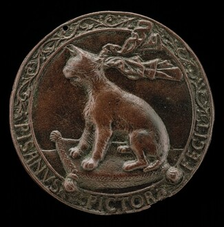 Blindfolded Lynx Seated on a Cushion [reverse]