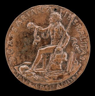 Figure Seated on a Cuirass, Holding a Globe and Spear [reverse]