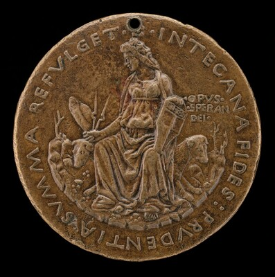 Prudence Seated on Two Hounds Holding Manfredi Shield [reverse]