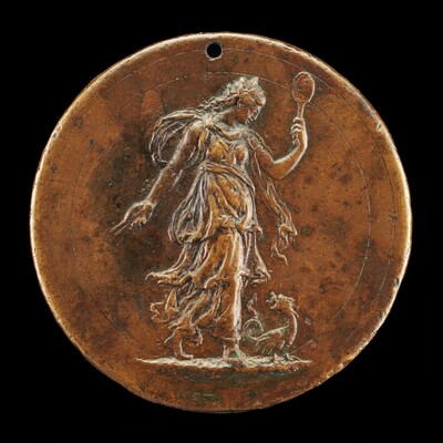 Prudence Holding a Mirror and Compasses [reverse]