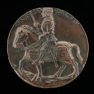 Jean du Mas on a Horse Wearing Chanfron and Bardings [reverse]